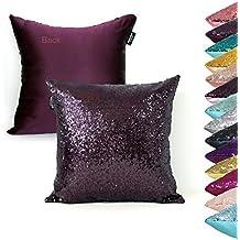 AMAZLINEN(TM) Decorative Glitzy Sequin & Comfy Satin Knit Pillow Cover 18 x 18 Pillow Covers,Hidden Zipper Design(Eggplant)