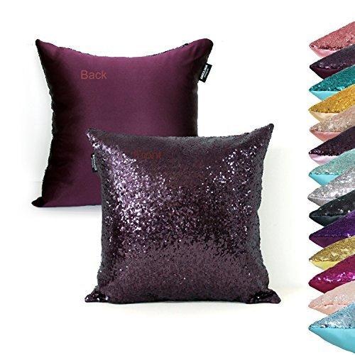 AMAZLINEN(TM) Decorative Glitzy Sequin & Comfy Satin Knit Pillow Cover 18 x 18 Pillow Covers,Hidden Zipper Design(Eggplant) Saf Satin