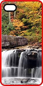 Autumn Colored Mountain Waterfall Red Rubber Decorative iPhone 4/4s Case