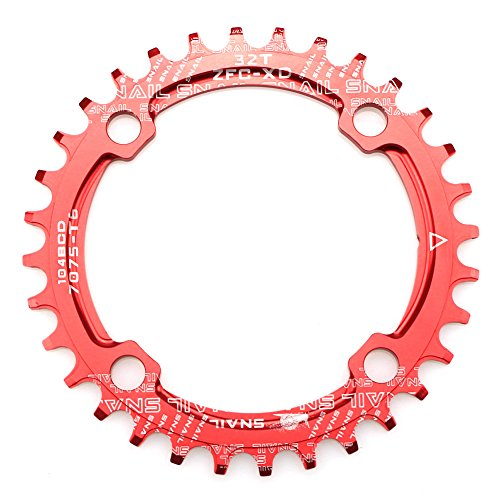 CYSKY Narrow Wide Chainring 104BCD 32T 34T 36T 38T 4 Bolts Bike Single Chainring for 9 10 11 Speed, Perfect for for Road Bike, Mountain Bike, BMX MTB Bike (Round, Red)