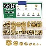 Keadic 235Pcs Full Finished Brass Hex Nuts Assortment Kit, Metric Size: M2 M2.5 M3 M4 M5 M6 M8 M10