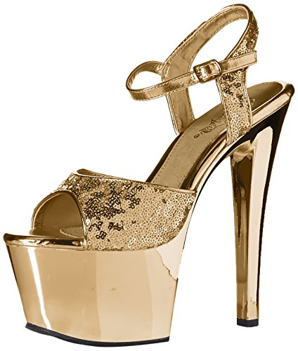 Pleaser SKY-310SQ Gold Sequins/Gold Chrome jPy78ZFL