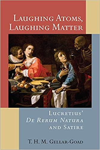 Book cover - red, blue, and tan background with a painting of a family eating and a skeleton sneaking up behind them. Title in white letters: