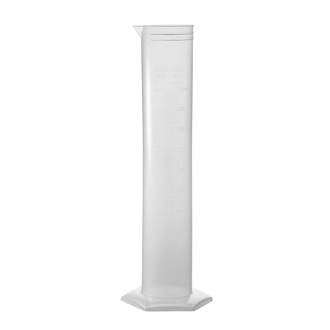 ZCHXD 2000ml Laboratory Measurements Clear White Plastic Hex Base Graduated Cylinder for Chemical Measuring