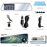 """SmarTure M532 1296P HD Rearview Mirror Dashcam with 5"""" IPS Touch Screen, Crystal Clear White Mirror, Dual Cameras, Enhanced Night Vision, Parking Assist, Parking Protection Mode"""