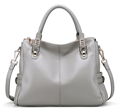 Grey Soft Leather (BIG SALE-AINIMOER Womens Genuine Leather Vintage Tote Shoulder Bag Top-handle Crossbody Handbags Large Capacity Ladies' Purse (Gray))