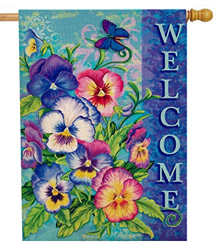 Dyrenson Spring Summer Pansies Flower 28 x 40 House Flag Large Double Sided Welcome Quote, Floral House Garden Yard Decoration, Home Butterfly Decorative Seasonal Outdoor Décor Burlap Flag