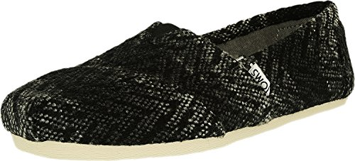 (Toms Women's Classic Wool Grey/Black Textured Low Top Flat Shoe - 6M)