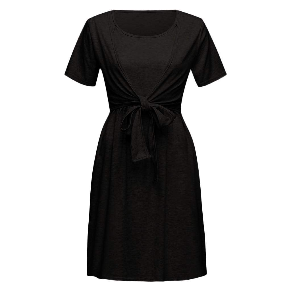 Premaman Abbigliamento VICGREY ❤ Vestito da Pigiama Abito per Allattamento Vestito Premaman Casual Madre Pigiama Camicia da Notte Allattamento Doppio Strato Vestito di Gravidanza