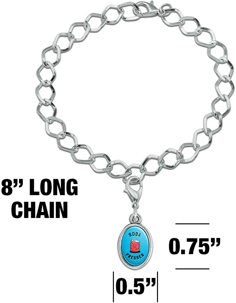 GRAPHICS /& MORE Soda Pressed Pun So Depressed Funny Humor Silver Plated Bracelet with Antiqued Oval Charm