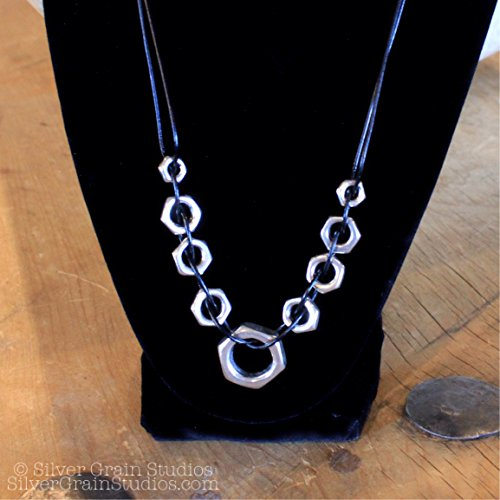 Hex Nut Leather Weave Necklace ()