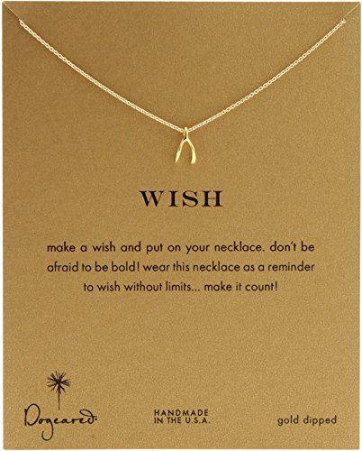 Dogeared Women's Wish Reminder 16 inch Gold One - Wishbone Dogeared