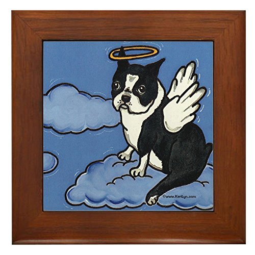 CafePress - Boston Terrier Angel - Framed Tile