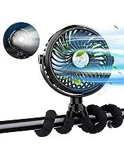 XIMU Stroller Fan, USB Rechargeable Mini Handheld Fan Clip on Fan with Flexible Tripod & LED Light, Ultra Quiet Portable Personal Fan for Stroller Car Seat Bike Camping Office Outdoor