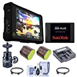 Atomos Shogun Inferno 7in 4Kp60 Monitor/Recorder - Bundle with Spare Batteries, SanDisk SSD Plus 2.5in 240GB Internal SSD Drive, Compact Charger, 2x Hdmi Mini Cable, Cleaning Kit, Mini Ball Head