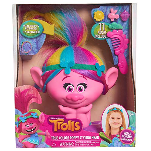 Doll Head Toy - Trolls Just Play Poppy True Colors Styling Head