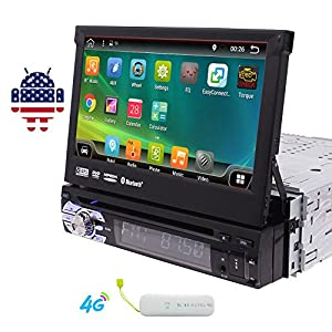 EinCar 7 inch Touch Screen Car DVD Player in Dash GPS Stereo for Universal Single 1 Din Vehicle AM/FM Radio Receiver/SWC/Bluetooth/1080P-Video/Dual Cam-in/Wifi/Screen Mirroring/4G Dongle