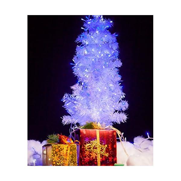 Catena Luminosa WISD Cavo Trasparente Stringa Luci Con 8 Modalità, Funzione Di Memoria, Decorativa Da Interni e Esterni, 33M 600 LED Catena Luci Per Casa/Natale/Giardino/Feste (Blu + Bianco) 4 spesavip