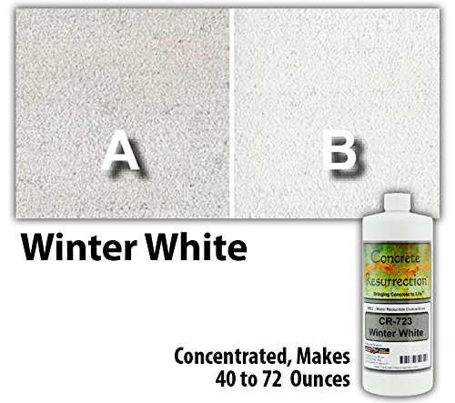 Concrete Stain Concentrate Just Add Water, User & Eco-Friendly Semi-Transparent Professional Grade Cement Stain, Concrete Resurrection Brand (8 ounce, Winter White)