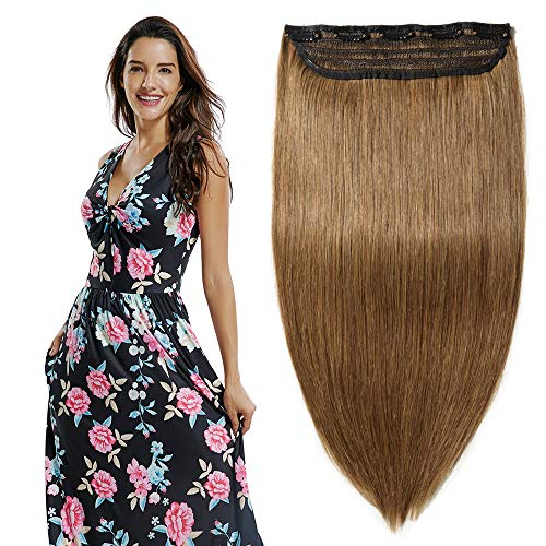 Deluxe 100% Clip in Remy Human Hair Extensions 3/4 Full Head One Piece 5 Clips 16-22 inch (16