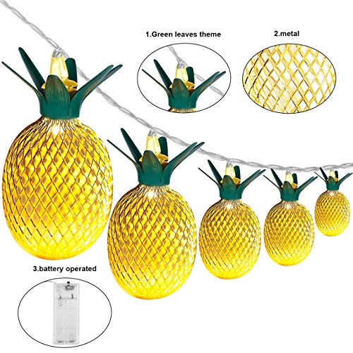 Wishwill Pineapple Lights, 5ft 10 LED Pineapple Light Fairy String Lights Decor Gifts Battery Powered for Teen Girls Kids DIY Christmas Wedding Home Party Bedroom Birthday Decoration (Warm White)