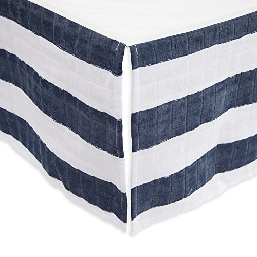 Little Unicorn Cotton Muslin Crib Skirt - Navy Stripe Stripes Crib Skirt