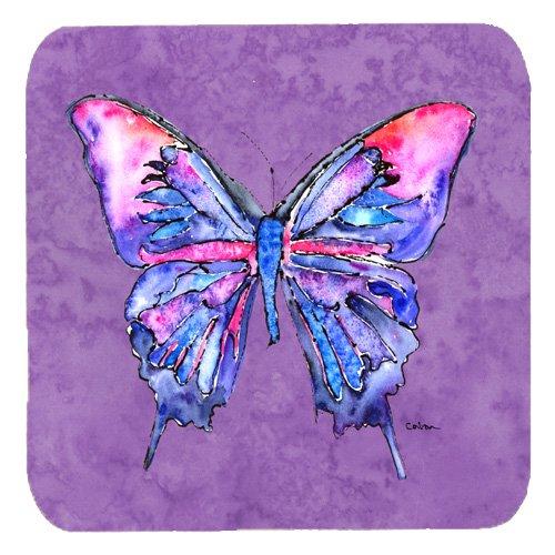 "Caroline's Treasures 8860FC Butterfly on Purple Foam Coasters (Set of 4), 3.5"" H x 3.5"" W, Multicolor from Caroline's Treasures"