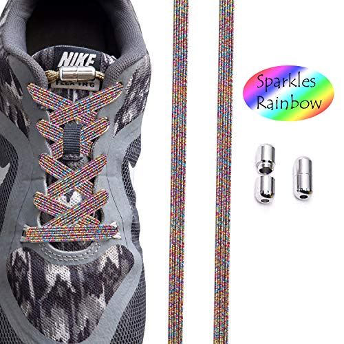 tababy No Tie Shoelaces for Men and Women - Waterproof Silicon Flat Elastic Athletic Running Shoe Laces with Multicolor for Sneaker Boot Board Shoes and Casual (Sparkling Colorful)