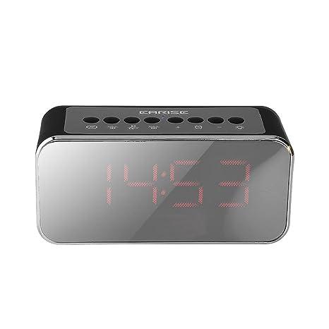 Vbestlife Reloj Radio Despertador Altavoz Bluetooth Inalámbrico Portátil Elegante con Espejo Digital Pantalla Grande,Apoyo