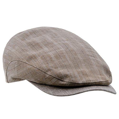 Sterkowski Linen Breathable Ivy League Gatsby Retro Flat Cap 6 3/4 Beige