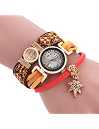 Sloggi Women Maple Leaies Pendant Bracelet Watch Ladies Winding Wrap WristWatch Fashion Quartz Watch