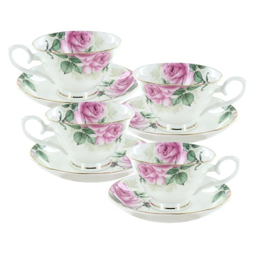Coastline Imports Rose Bouquet Bone China Cup And Saucer Set Of -