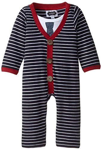 Mud Pie Baby-Boys Newborn Cardigan One Piece, Blue/Red, 12-18 Months