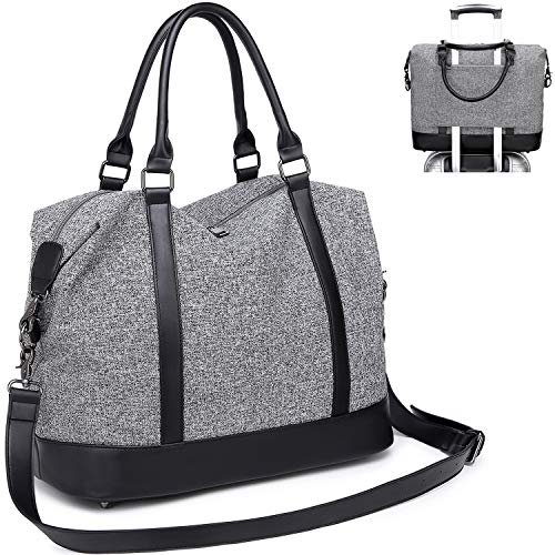 CAMTOP Women Travel Tote Overnight Weekender Carry On Bag With Luggage Sleeve A Gray