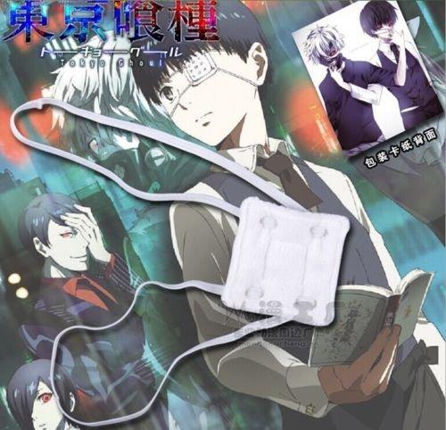 [Kaneki Ken White Single-Eyed Japanse Prop Eye Patch Anime Tokyo Ghoul COSPLAY] (Dragon Warrior King Adult Mens Costumes)