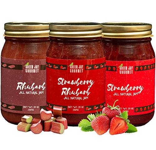 Green Jay Gourmet Rhubarb Jam Collection - Rhubarb, Strawberry Rhubarb Jam - All-Natural Fruit Jam Bundle - Vegan, Gluten-free Jam - No Preservatives or Corn Syrup - Made in USA - 3 x 20 Ounces