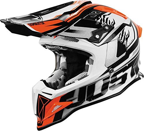 Just1 Dominator Adult J12 Off-Road Motorcycle Helmet - White/Red/Large