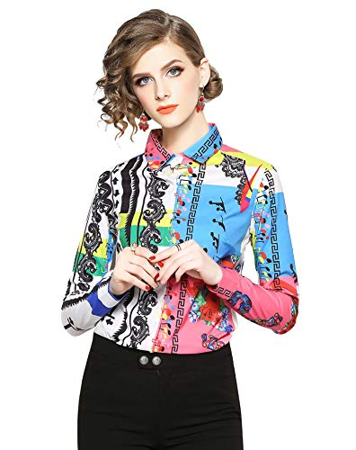 Women's Shirts Floral Print Long Sleeve Button up Casual Blouse Top ()