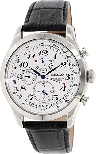 Seiko Men's SPC131P1 Neo Classic Alarm Perpetual Chronograph White Dial Black Leather Strap Watch (Chronograph Leather Dial Watch)
