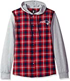 NFL New England Patriots Womens NFL Women's Lightweight Flannel Hooded Jacket, X-Large