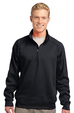 193f75dac00 Amazon.com  Sport-Tek F247 Tech Fleece 1 4-Zip Pullover - Black - S   Clothing