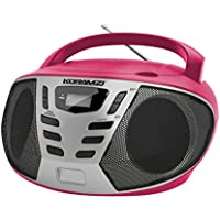 KORAMZI Portable CD Boombox with AM/FM Radio, Top Loading CD Player, Telescopic Antenna, LCD Display for Indoor & Outdoor, Offices, Home, Restaurants, Picnics, School, Camping (Pink/Silver) CD55-PKS