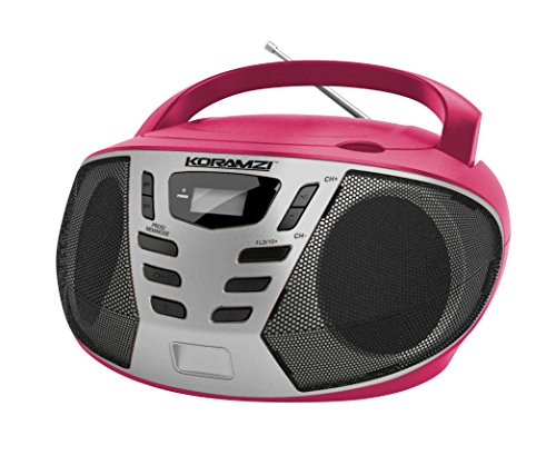 KORAMZI Portable CD Boombox with AM/FM Radio, Top Loading CD Player, Telescopic Antenna, LCD Display for Indoor & Outdoor, Offices, Home, Restaurants, Picnics, School , Camping (Pink/Silver) CD55-PKS