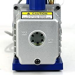 Zeny Single Stage1/3HP 4CFM Electric Deep Vacuum Pump Refrigerant R410a HVAC Deep Vane Air Conditioner Air Conditioning Tool (VP135) w/ 1/4\