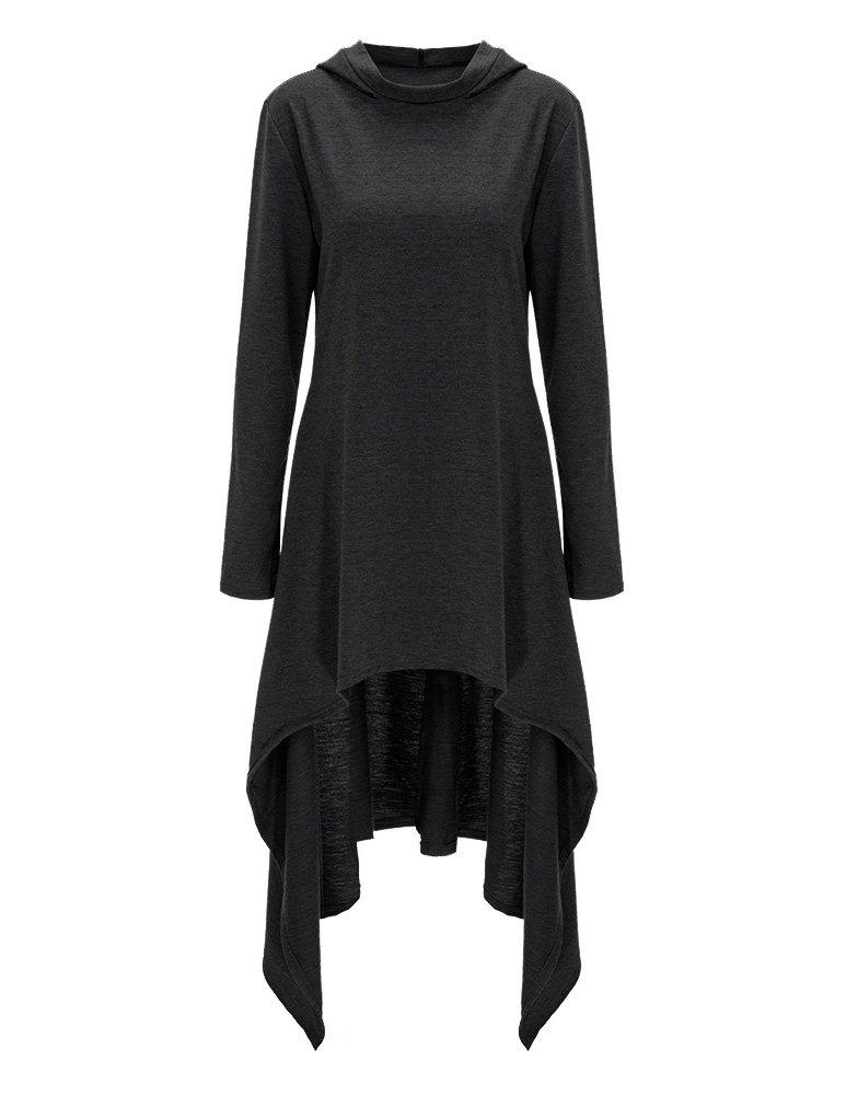 GRACE KARIN Women's Casual Long Sleeve Irregular High-Low Hem Hooded Tunic Tops Dress AF1018 (M, Black)