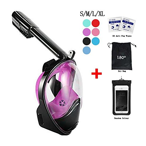 Snorkel Mask 180° view for Adults and Youth. Full Face Free Breathing Design.[Free Bonuses] Cell Phone Universal Waterproof Case (Dry Bag) and Anti-Fog wipes (Black/Purple, S/M) Dive Mask Snorkel