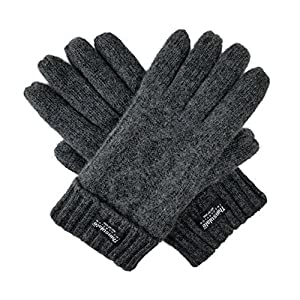 Bruceriver Women's Pure Wool Knitted Gloves with Thinsulate lining and Diamond Design