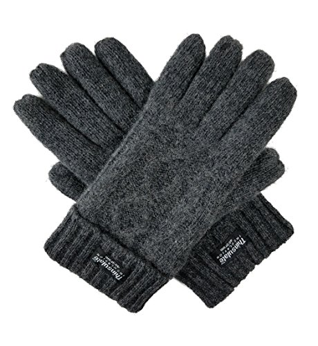 Bruceriver Womens Pure Wool Knitted Gloves with Thinsulate lining and Diamond Design