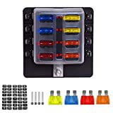 TURN RAISE 8-Way Blade Fuse Box, Fuse Box Block with LED Warning Indicator & Waterproof Cover for Car Boat Marine RV Truck DC 12-24