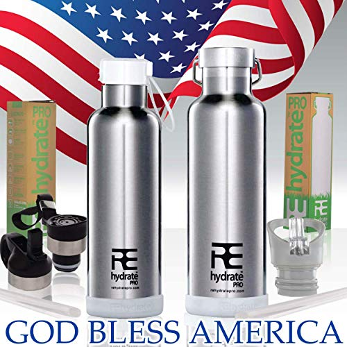 - Rehydrate Pro (Chrome 25oz Double-Insulated Stainless Steel Water Vacuum Bottle Flask -Compatible to Swell Yeti Hydro and Klean Kanteen for Hot or Cold Drinks + Bonus 'Flip N Sip' Sports Cap